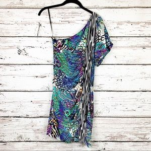 Laundry Abstract Print One Shoulder Mini Dress